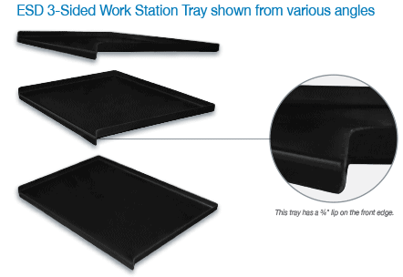 ESD 3-Sided Work Station Tray
