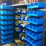 Hopper Corrugated Plastic Containers with Louvered Panel Attachment